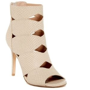 Charles David Snake Embossed Leather Ankle Booties